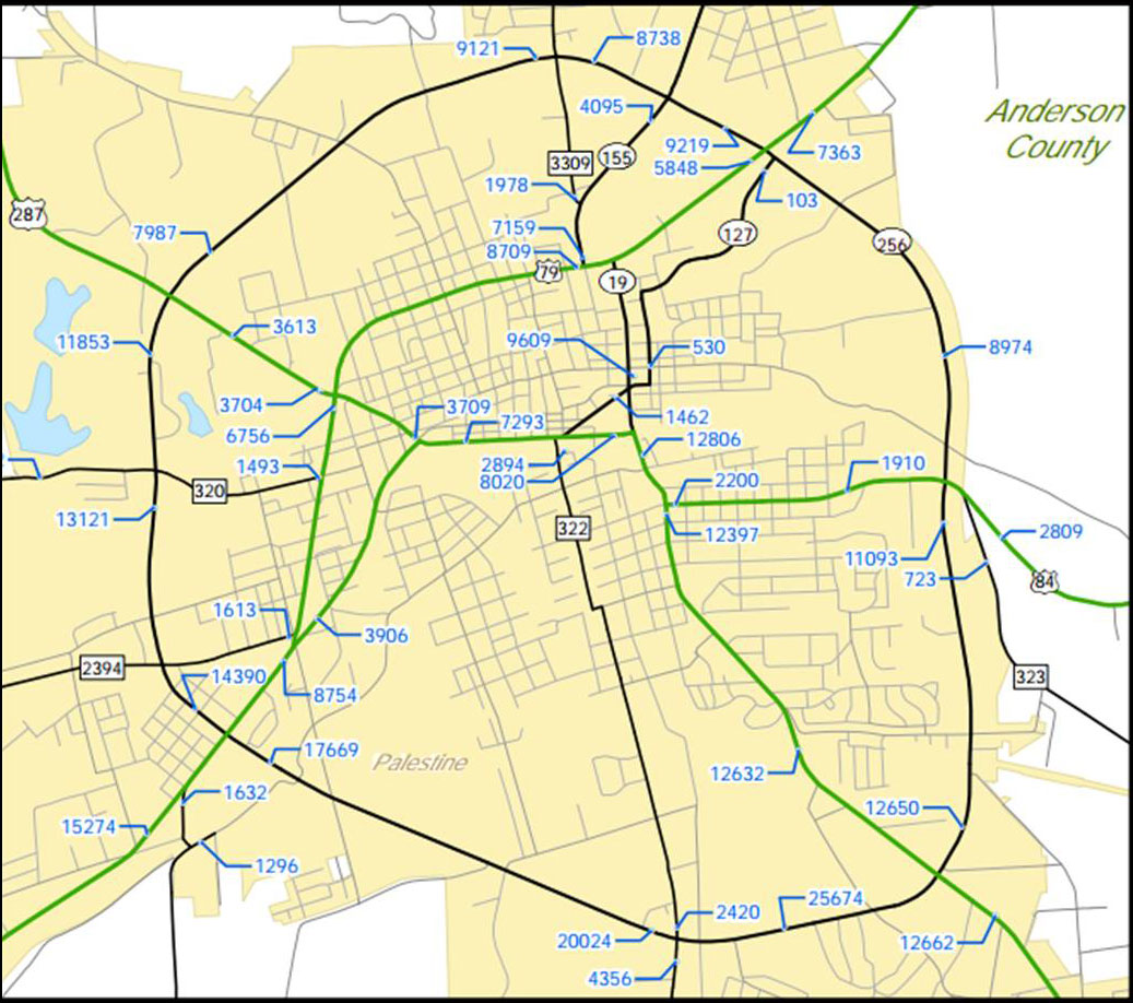 Map Of Palestine Tx 75801.Traffic Counts
